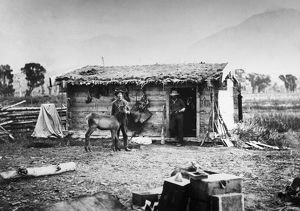 YELLOWSTONE: RANCH, 1872. Major Pease's ranch on the Yellowstone River in Montana